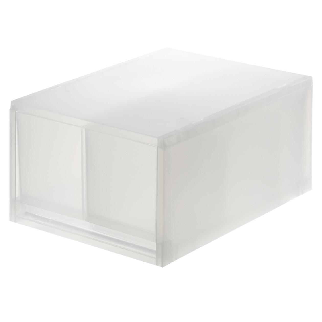 【まとめ買い】ポリプロピレンケース・引出式・深型2個(仕切付)・ホワイトグレー クリア