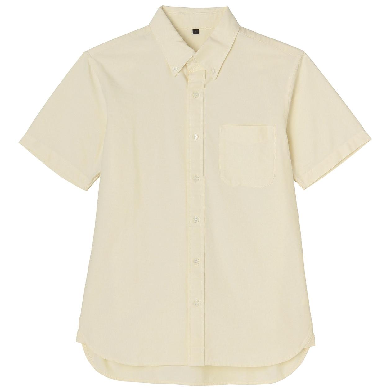 Organic Cotton Oxford Button Down S S Shirt Men M Yellow