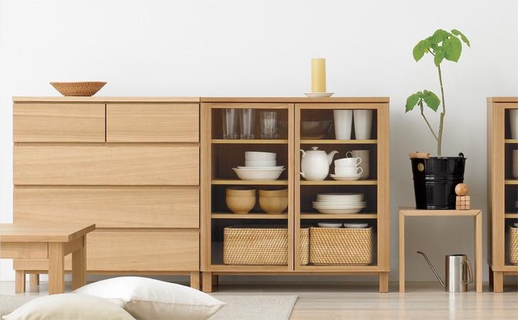 無印良品 MUJI 組み合わせて使える木製収納 タモ材 本棚 シェルフ 木製扉 スチールバー
